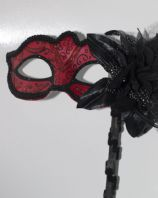 Red and Black Mask on Stick with Flower